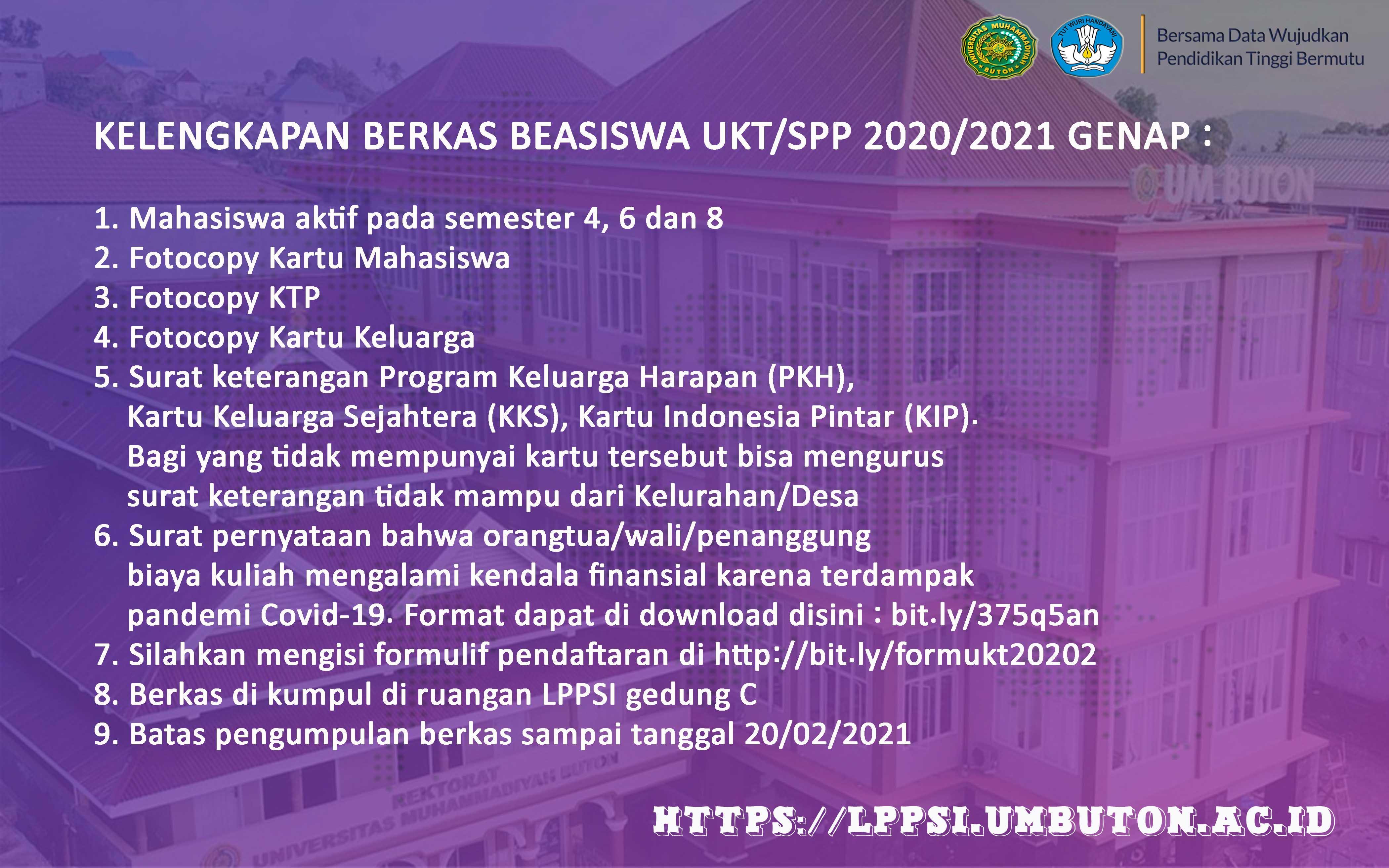 PENDAFTARAN BANTUAN UKT/SPP SEMESTER GENAP 2020/2021